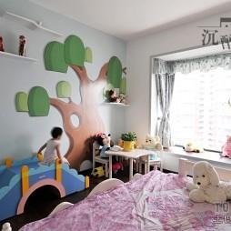 混搭风格宜家时尚儿童房手绘壁画装修效果图片