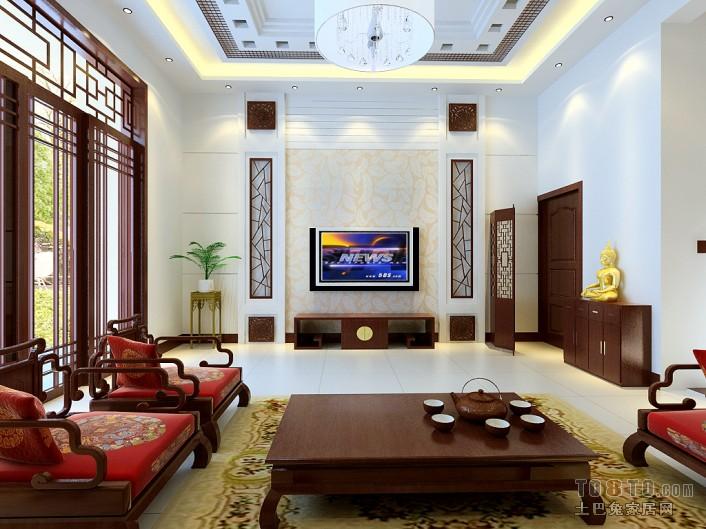 家居影视墙装修图_中式红木家居客厅电视背景墙装修效果图 – 设计本装修效果图