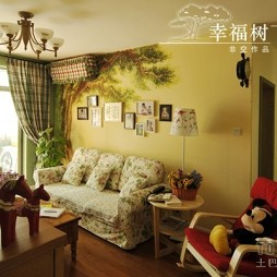 房屋农村室内小客厅彩绘照片墙装修效果图