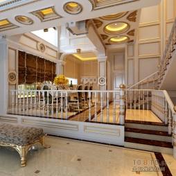 家装混搭风格跃层餐厅石膏线描金天花吊顶装修效果图