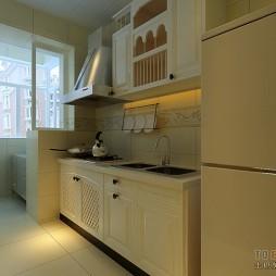 田园厨房带阳台时尚橱柜装修设计效果图