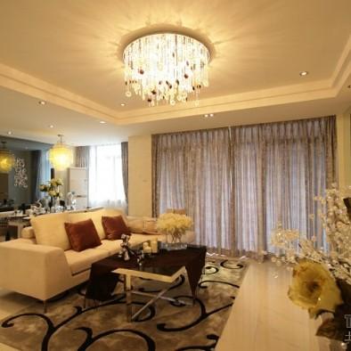柔和简约客厅装修效果图大全2012图片 波海蓝湾