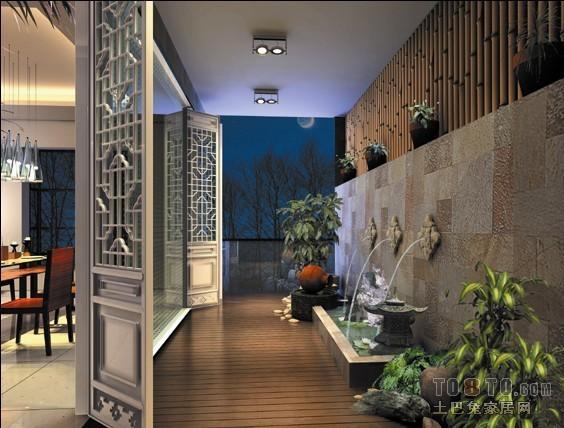 现代简约电视墙墙纸_入户花园吊顶效果图片 – 设计本装修效果图