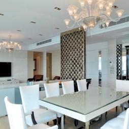 现代风格客厅餐厅水晶吊灯装修效果图