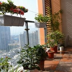 2017中式风格复式楼观景阳台花架装修效果图片