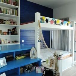 地中海风格复式楼双人儿童房上下床设计装修效果图片