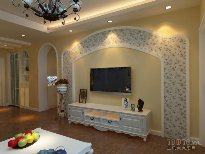 简欧风格墙纸效果图_电视墙壁纸简欧图片 – 设计本装修效果图