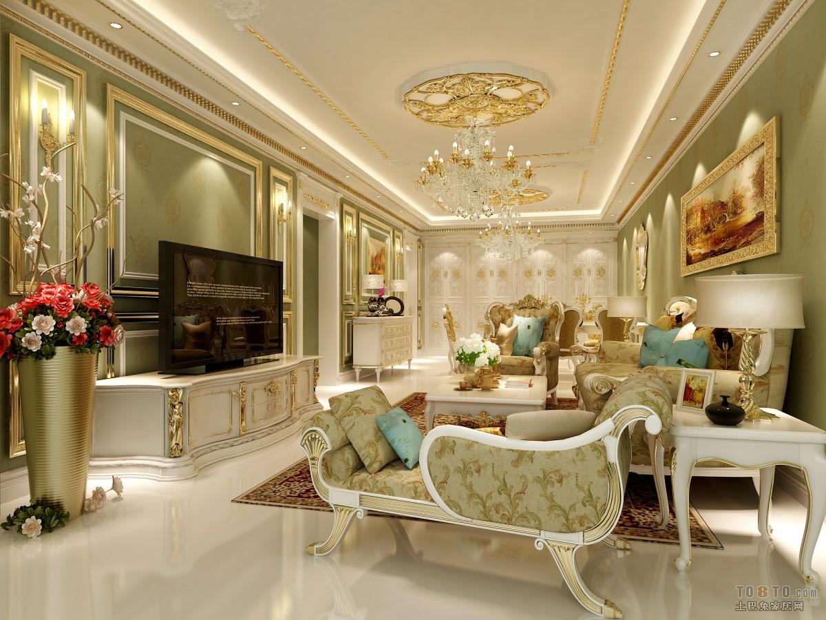 欧式新古典风格家具_奢华客厅三级吊顶装修效果图 – 设计本装修效果图