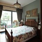 美式风格乡村温馨老人房家居卧室带阳台装修效果图片