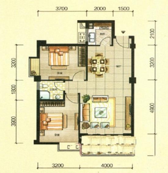 寻求户型设计,建筑面积约85平2室2厅,高层