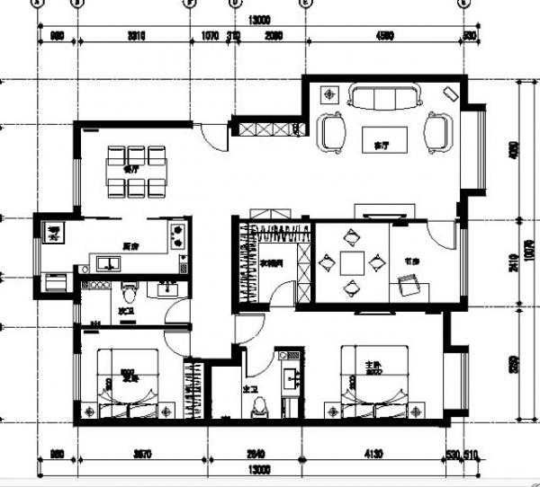 房间如何设计?1. 是否取消衣帽间扩大书房?2. 进门如何设计玄关?3. 客厅厨房是地板还是瓷砖,如何规划区域?4. 吊顶如何设计? 叩谢!