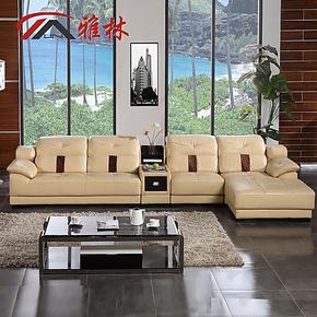 三包到家 雅林国产头层牛皮现代时尚真皮客厅L型转角储物皮艺沙发