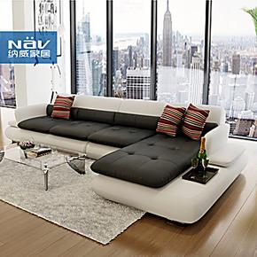 真皮沙发 头层牛皮 现代欧式 客厅沙发组合 L型皮沙发NAV180