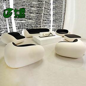 七匠家具真皮沙发黑白配 创意个性简约时尚客厅组合头层牛皮沙发
