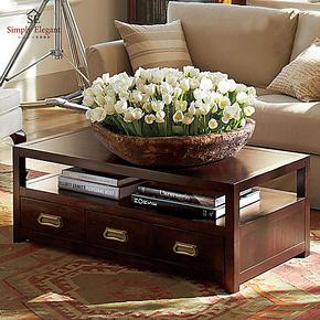年中大促美式乡村家具客厅时尚简约小户型创意榆木储物茶几实木几