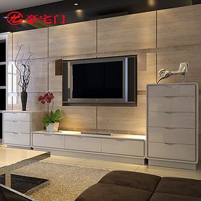 豪宅门 现代简约电视柜组合 时尚客厅白色烤漆试听柜组合特价包邮