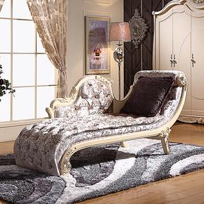 欧式贵妃椅 欧式贵妃榻 田园躺椅 法式卧室家具玫瑰雕花描银特价