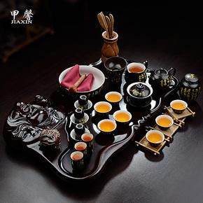 甲馨 茶具套装特价 整套陶瓷定窑功夫茶具 笑佛弥勒佛整块茶盘