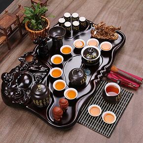 康乐品 茶具套装特价 整套陶瓷定窑功夫茶具 茶道实木制整块茶盘