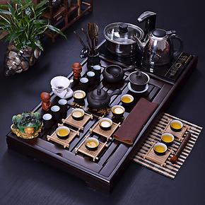 紫砂冰裂陶瓷汝窑茶具套装 电磁炉抽水功夫茶具整套茶盘实木特价