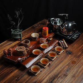 茶具套装 茶杯茶壶套装 紫砂汝窑整套四合一电磁炉实木茶盘 chaju