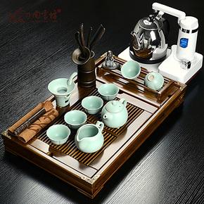 尚言坊 实木杯架茶盘 汝窑功夫茶具套装特价 汝瓷开片可养 贵妃壶
