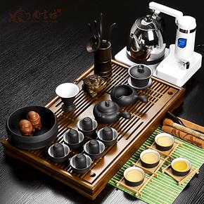 尚言坊 实木幽雅茶盘 宜兴紫砂 整套功夫茶具套装特价 可选电器