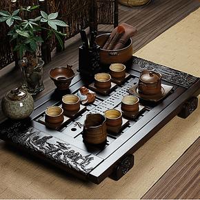 友尚 正品汝窑陶瓷功夫茶茶具特价仿古粗陶制茶壶套装 黑檀木茶盘