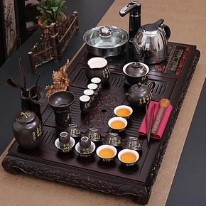 康乐 茶具套装特价 整套茶具 定窑青花功夫茶具 电磁炉实木茶盘