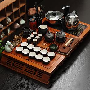 苏生茶具套装紫砂汝窑陶瓷功夫茶具套装柯木茶盘电磁炉四合一特价