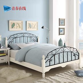 青春在线 宜家双人床铁艺床1.5白色铁床1.2欧式单人床公主床1.8米