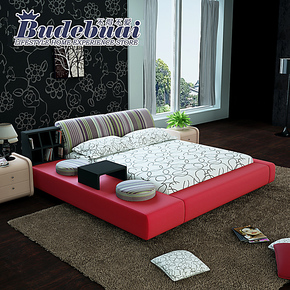 不得不爱 布艺床 榻榻米床 布床可拆洗 双人床1.8米简约现代 婚床