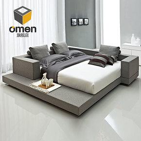 omen家居榻榻米床简约现代床时尚布艺床双人床1.51.8米温馨功能床