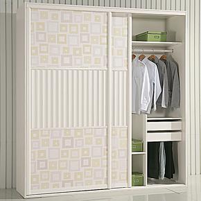 新品特价 韩式田园 百叶 皮移门整体衣柜 可定制定做三包到家2111