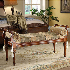 美式床尾凳 实木长凳 布艺垫双人凳  床边凳休闲凳软垫凳欧式床凳