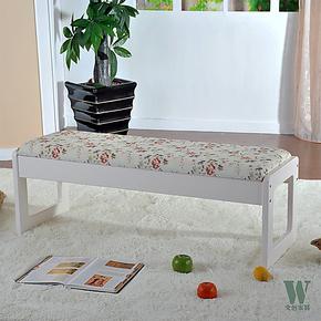 亲亲田园 床尾凳 韩式田园 卧室床边凳 换鞋凳象牙白色 烤漆特价