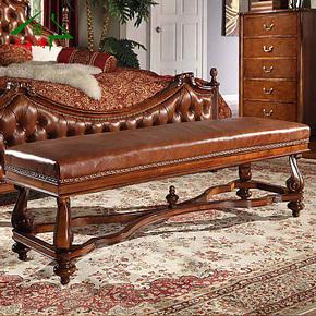 木家缘 欧式床尾凳 美式乡村实木家具长凳床前凳MS101真皮床头凳