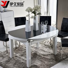 【装修节】伊久可折叠餐桌伸缩烤漆圆桌子钢化玻璃实木方饭桌