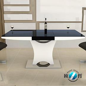 欧哲家具 中间伸缩折叠功能餐桌 钢化玻璃烤漆不锈钢餐台ichange