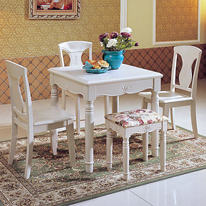 欧式简约方形餐桌小户型餐桌椅组合套时尚餐桌一桌四椅实木餐桌