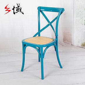 乡域品牌 桦木/复古实木法式餐椅 交叉背椅 Y椅背叉餐厅椅 特价中