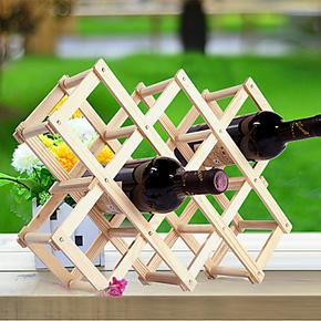创意欧式折叠葡萄酒架酒瓶红酒酒具套装酒柜装饰品摆件实木红酒架