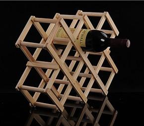 夏季特价 实木创意折叠红酒架 家居 葡萄酒架 坚固耐用 10瓶装