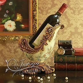 特价包邮欧式摆件家居饰品时尚现代工艺装饰品玫香兰花宫廷红酒架