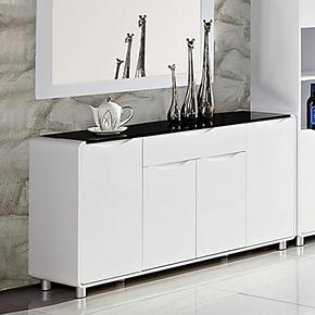 新款餐边柜 现代简约时尚 钢琴烤漆 板式钢化玻璃斗柜储物柜边柜