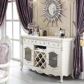 法拉丹顿 MX2实木餐边柜酒水柜 法式象牙白 贴银箔欧式餐厅家具