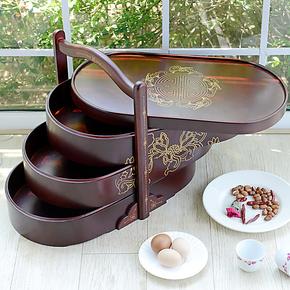 越茂 中式复古餐盒 送餐盒 野餐饭盒 送礼佳品 实木饭盒