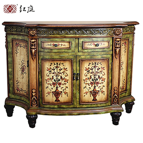 红庭家具 地中海风格实木餐边柜/储物柜/桌台 手工彩绘超实用结实