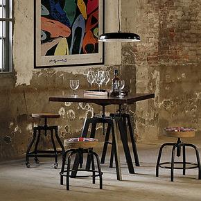 艺难忘LOFT实木仿古酒吧咖啡馆吧椅复古风格铁艺仿锈做旧吧台椅子