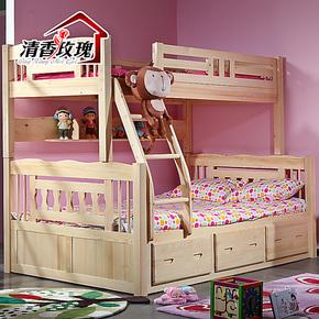 实木双层床松木双层床子母床上下铺床松木儿童床实木上下床高低床